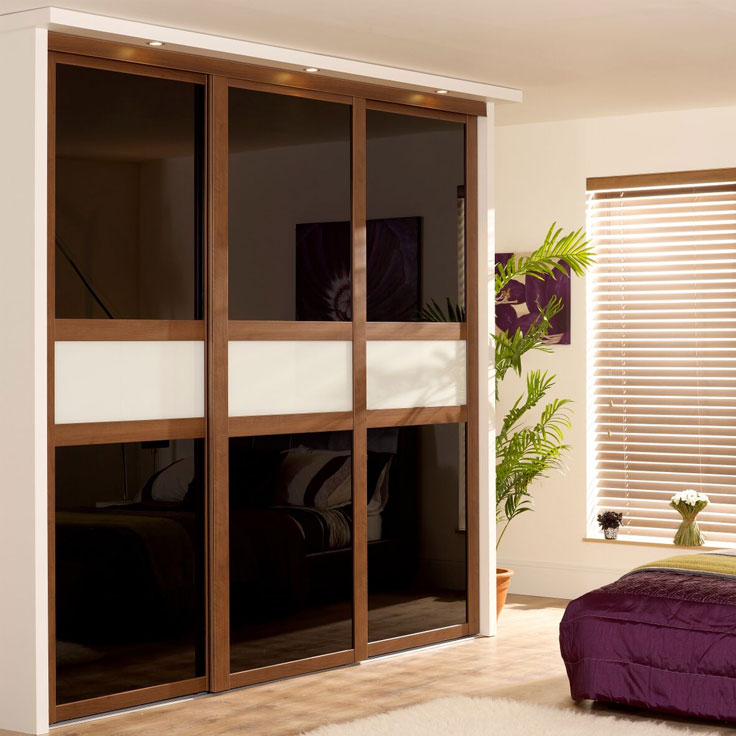 Fineline Shaker Style Doors - Walnut frame with Black Glass & Soft White Mid-Panel.