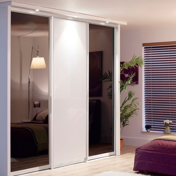 Monaco Sliding Wardrobe Doors- White frame Pure white and black glass