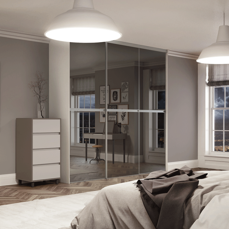 Minimalist Sliding Wardrobe Doors-Silver frame-grey mirror