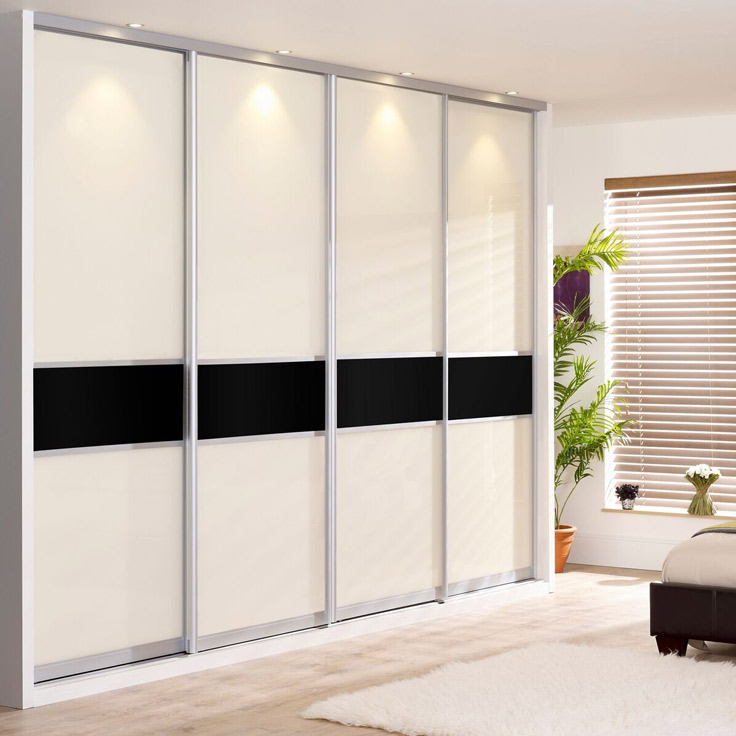 Monaco Offset Fineline Sliding Wardrobe Doors - Ivory & Black Glass.