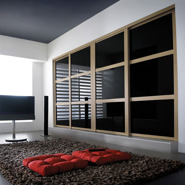 Shaker Wardrobe - Ferrara Oak Frame w/ Black Glass (2 Oriental Bars).