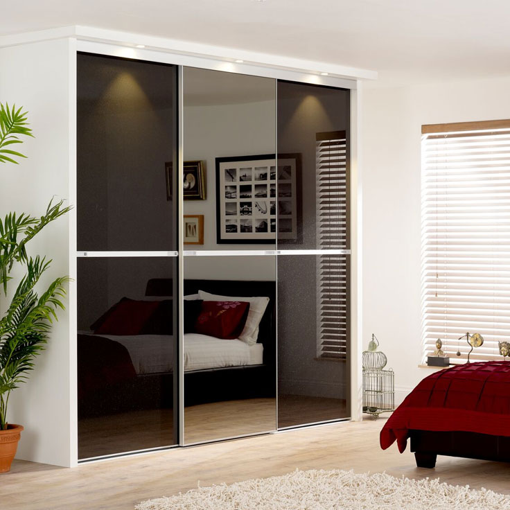 Minimalist Sliding Wardrobe Doors-Starlight black and smoked mirror
